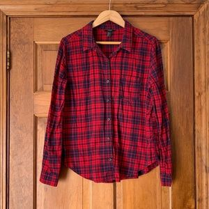 Forever 21 Red and Navy Flannel Plaid Button Down